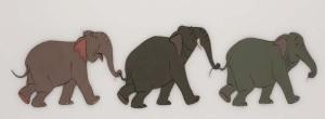 Elephants holding tails
