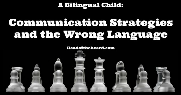 A bilingual child responds in the 'wrong' language and uses lots of communication strategies